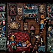 """Картины и панно ручной работы. Ярмарка Мастеров - ручная работа """"Дедушкина библиотека"""". Handmade."""