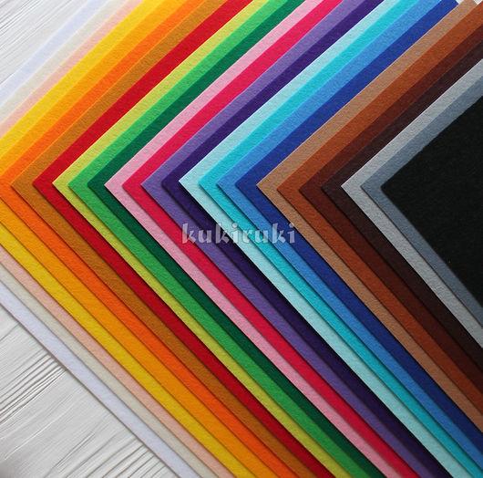 Валяние ручной работы. Ярмарка Мастеров - ручная работа. Купить Набор жесткого корейского фетра 1 мм  - 26 цветов. Handmade.