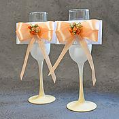 """Свадебный салон ручной работы. Ярмарка Мастеров - ручная работа Свадебные бокалы """"Персиковая свадьба. Handmade."""