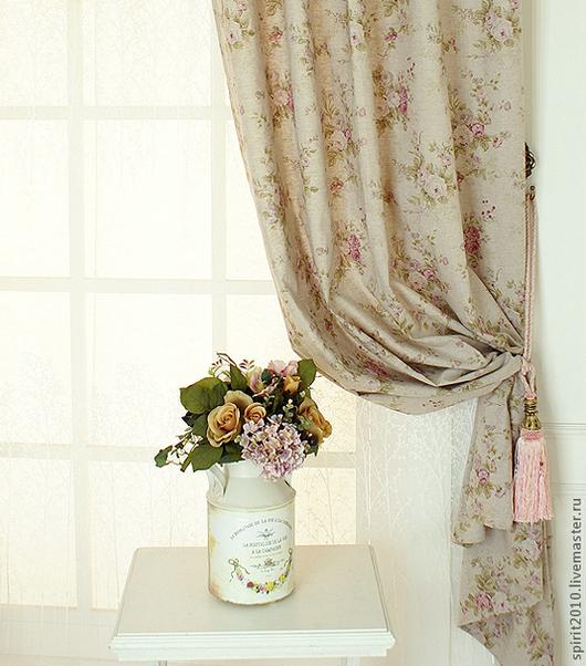 """Текстиль, ковры ручной работы. Ярмарка Мастеров - ручная работа. Купить Шторы льняные """"Английские розы-2"""". Handmade."""