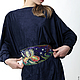 """Большие размеры ручной работы. Блуза-туника безразмерная из (на 4-5 размеров) """"Синяя птица"""". Одежда для женщин шикарных размеров (seanna12). Ярмарка Мастеров."""