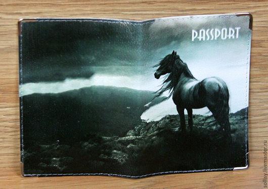 """Обложки ручной работы. Ярмарка Мастеров - ручная работа. Купить обложка """"Вороной конь"""" (кожа). Handmade. Натуральная кожа, подарок"""