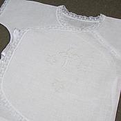 Работы для детей, handmade. Livemaster - original item Baptismal linen vest. art. 006. Handmade.