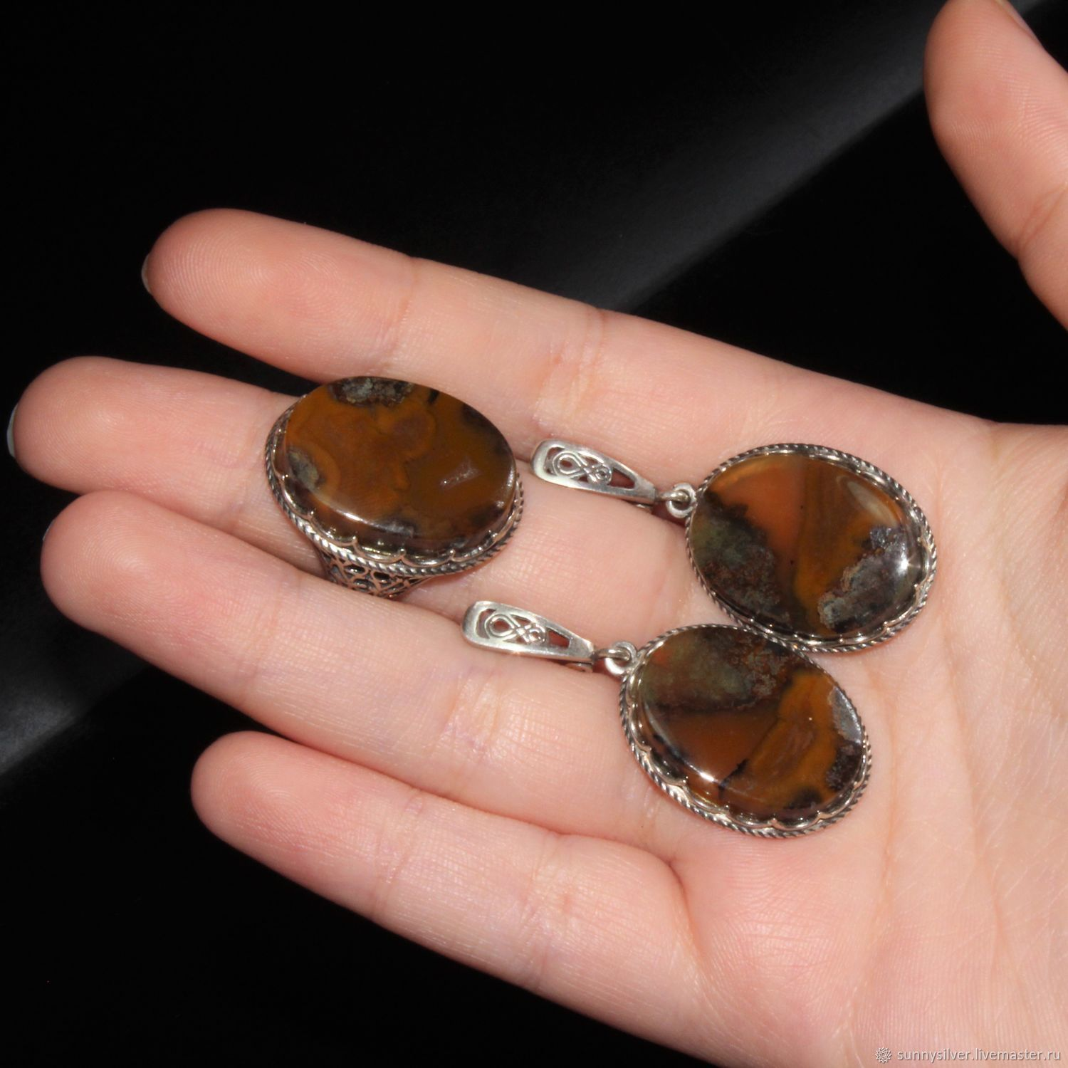 Arabella earrings and ring with 925 sterling silver Jasper, Jewelry Sets, Yerevan,  Фото №1