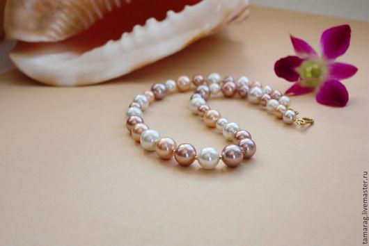 """Колье, бусы ручной работы. Ярмарка Мастеров - ручная работа. Купить Ожерелье """"Нежность""""  из  Shell Pearl. Handmade. Перламутр натуральный"""