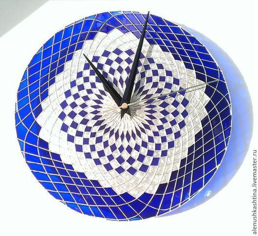 """Часы для дома ручной работы. Ярмарка Мастеров - ручная работа. Купить Часы настенные """"Сапфировое царство"""". Handmade. Тёмно-синий"""