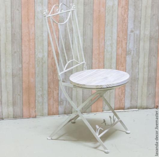Мебель ручной работы. Ярмарка Мастеров - ручная работа. Купить Стул металлический складной с круглым деревянным сиденьем. Handmade. Белый