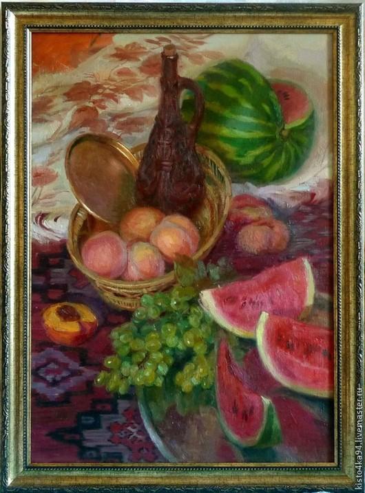 Картина маслом холст на подрамнике картина украшение интерьера интерьер кухни картина натюрморт с фруктами подарок на новоселье подарок хозяйке на кухню восточный натюрморт