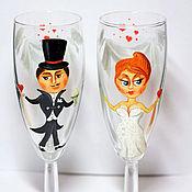 Посуда ручной работы. Ярмарка Мастеров - ручная работа Свадебные бокалы. Handmade.