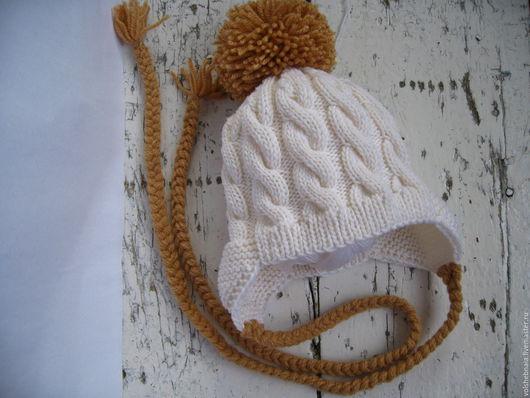 Для новорожденных, ручной работы. Ярмарка Мастеров - ручная работа. Купить Шапка чепчик 100% меринос Италия, для новорожденных, 0-3мес, теплая. Handmade.