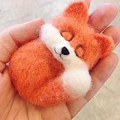 Украшения handmade. Livemaster - original item Brooch sleeping Fox from wool. Handmade.