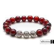 Bead bracelet handmade. Livemaster - original item Men`s and women`s bracelet made of Baltic amber with silver charms. Handmade.