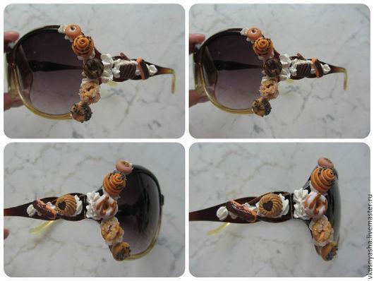 Очки ручной работы. Ярмарка Мастеров - ручная работа. Купить Очки с вкусняшками солнцезащитные. Handmade. Сиреневый, белые очки