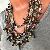 Украшения handmade. Livemaster - original item BOHO decoration. Cascade choker style boho. Necklace ECO-style. Coconut. Handmade.