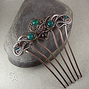 Украшения handmade. Livemaster - original item Comb hair with a chrysoprase, and garnet. Handmade.