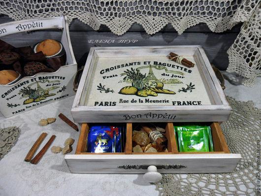 """Корзины, коробы ручной работы. Ярмарка Мастеров - ручная работа. Купить """"Croissants et baguettes"""" Чайный сервировочный короб поднос. Handmade."""
