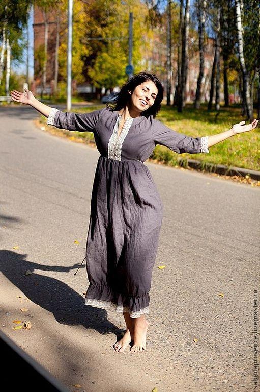 Платья ручной работы. Ярмарка Мастеров - ручная работа. Купить Платье льняное ПРАВАНС. Handmade. Платье, платье в пол