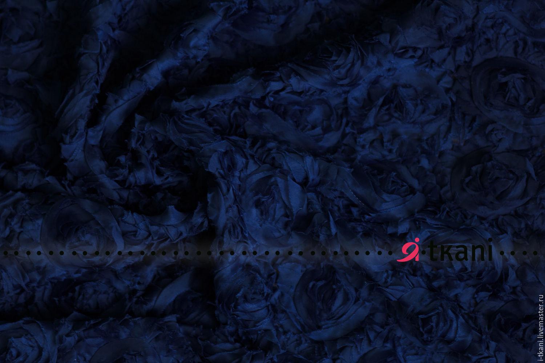 """RZ02-501 Ткань фактурная с 3D эффектом """"Розы на сетке"""". Цвет т.синий – купить на Ярмарке Мастеров – 8EGP3RU   Ткани, Москва"""