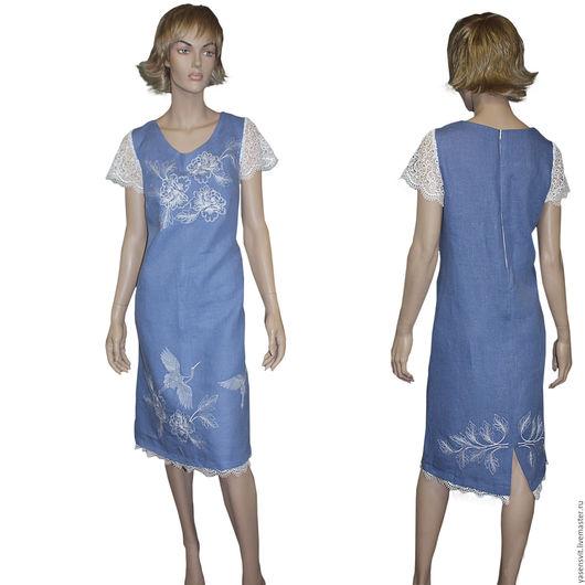 Платья ручной работы. Ярмарка Мастеров - ручная работа. Купить Вышитое льняное платье Голубое платье. Handmade. Голубой