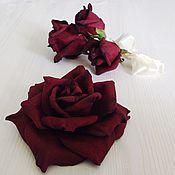 handmade. Livemaster - original item Wedding set hair clip and buttonhole Marsala. Handmade.