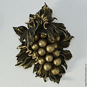 Брошь из натуральной кожи Виноградная лоза (античная бронза)
