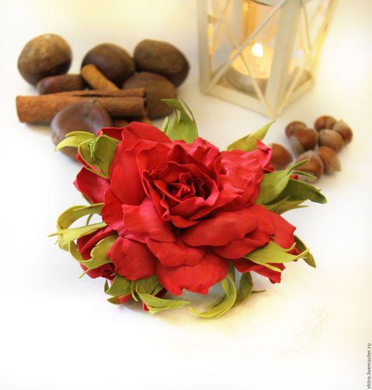 Заколки ручной работы. Ярмарка Мастеров - ручная работа. Купить Заколка - зажим  Красная роза из фоамирана.. Handmade. Роза