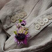 """Украшения ручной работы. Ярмарка Мастеров - ручная работа Брошь птичка вышитая """"Singing in violets """". Handmade."""