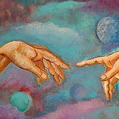 """Картины и панно ручной работы. Ярмарка Мастеров - ручная работа Картина """"Две руки"""" ( по мотивам Микеланджело).. Handmade."""