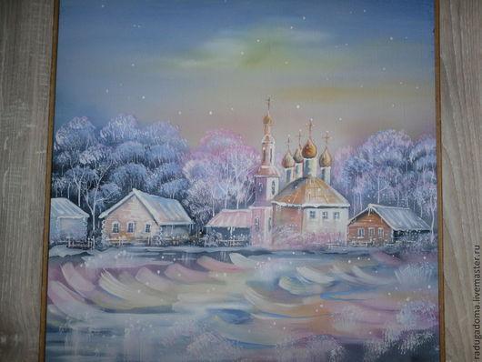 Пейзаж ручной работы. Ярмарка Мастеров - ручная работа. Купить Картина, пейзаж, акварель. Волшебная зима (зима, белый, пейзаж). Handmade.