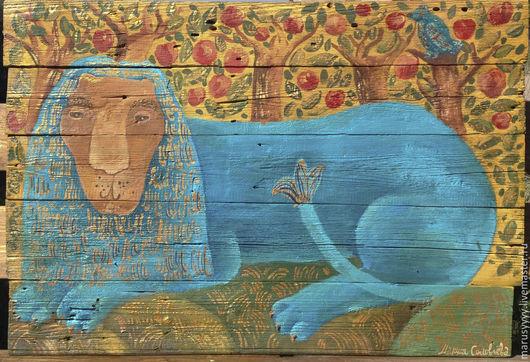 """Животные ручной работы. Ярмарка Мастеров - ручная работа. Купить """"Лев отдыхающий в саду"""". Handmade. Рыжий, русский стиль"""