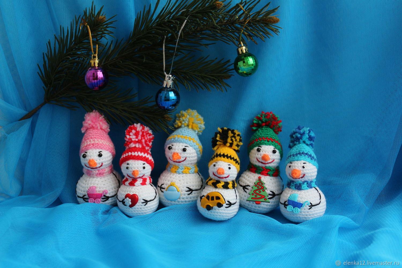 """Вязаные игрушки """"Снеговички с пожеланиями"""", Snowmen, St. Petersburg,  Фото №1"""