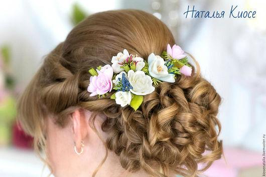 Свадебные украшения ручной работы. Ярмарка Мастеров - ручная работа. Купить Цветы в прическу невесты. Handmade. Разноцветный, шпилька для волос