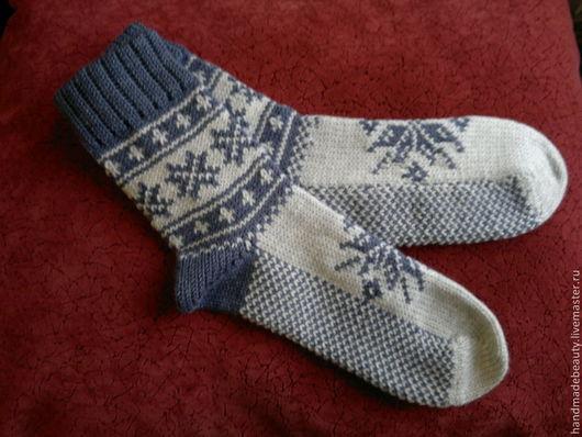 Носки, Чулки ручной работы. Ярмарка Мастеров - ручная работа. Купить Носки Снежинки. Handmade. Носки, носки вязаные, снежинка