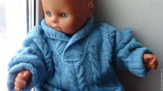 Одежда для мальчиков, ручной работы. Ярмарка Мастеров - ручная работа. Купить джемпер  с косами из шерсти для мальчика 1-2 года. Handmade.