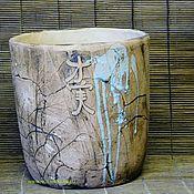 Вазоны ручной работы. Ярмарка Мастеров - ручная работа вазон шамотный Ансин-сад душевного спокойствия. Handmade.