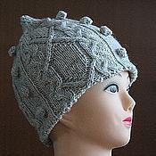 Аксессуары ручной работы. Ярмарка Мастеров - ручная работа Шапка вязаная шлем с аранским узором-2. Handmade.