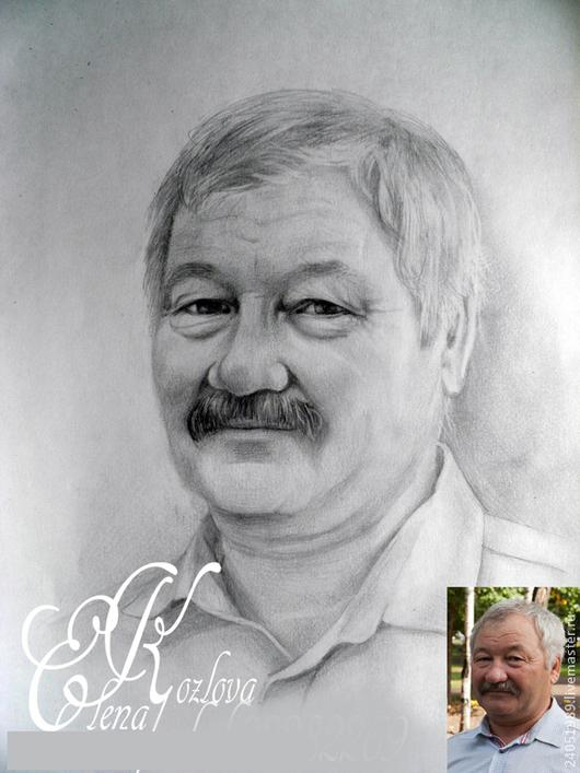 Люди, ручной работы. Ярмарка Мастеров - ручная работа. Купить портрет по фото карандашом. Handmade. Серый, портрет по фото