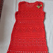 Одежда ручной работы. Ярмарка Мастеров - ручная работа Вязаное платье с брошкой, ручная работа, крючок,хлопок. Handmade.