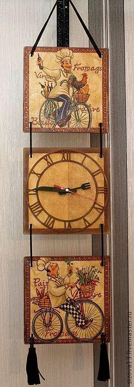 """Кухня ручной работы. Ярмарка Мастеров - ручная работа. Купить Панно-часы """" Веселый повар"""". Handmade. Коричневый, дерево"""