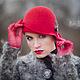 Шляпы ручной работы. Шляпка № 12 Красный Клош. AneleStudio. Ярмарка Мастеров. Шляпа клош, головной убор, меринос