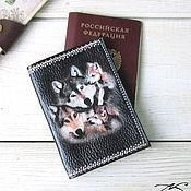 Канцелярские товары handmade. Livemaster - original item Passport cover men`s genuine leather black Wolves painted. Handmade.