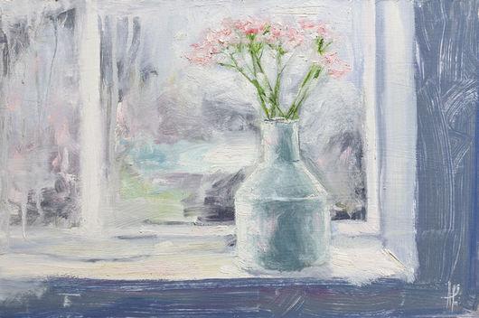 Картины цветов ручной работы. Ярмарка Мастеров - ручная работа. Купить Цветы на окне. Handmade. Разноцветный, серо-сиреневый, белый
