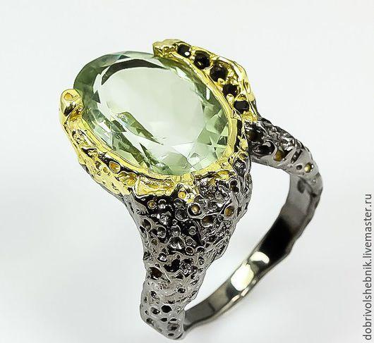 """Кольца ручной работы. Ярмарка Мастеров - ручная работа. Купить Кольцо """"Оттепель"""" из серебра 925 пробы с зеленым аметистом.. Handmade."""