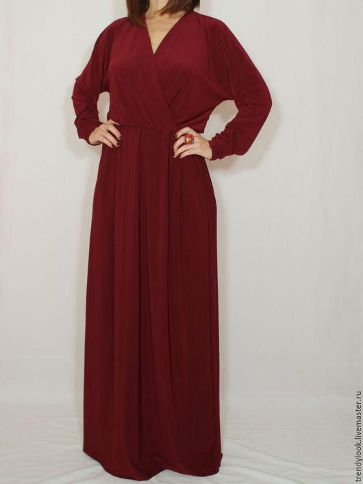 Платья ручной работы. Ярмарка Мастеров - ручная работа. Купить Бордовое платье в пол, длинный рукав летучая мышь. Handmade.