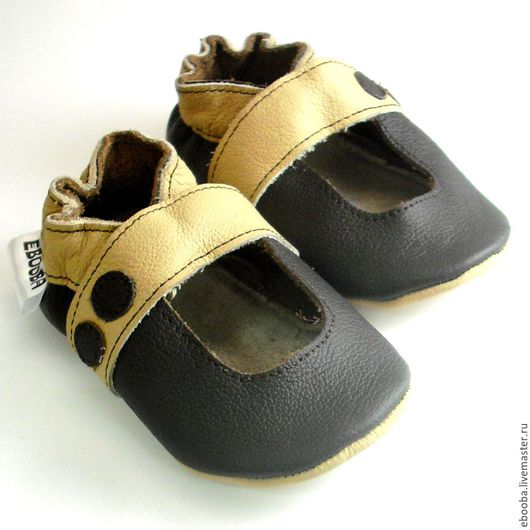 Кожаные чешки тапочки пинетки сандалии тёмно-коричневый бежевый ebooba