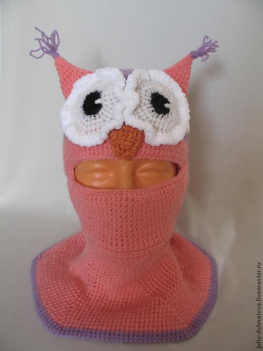 """Шапки и шарфы ручной работы. Ярмарка Мастеров - ручная работа. Купить Шапка-шлем """"Сова"""". Handmade. Розовый, шапка вязаная"""