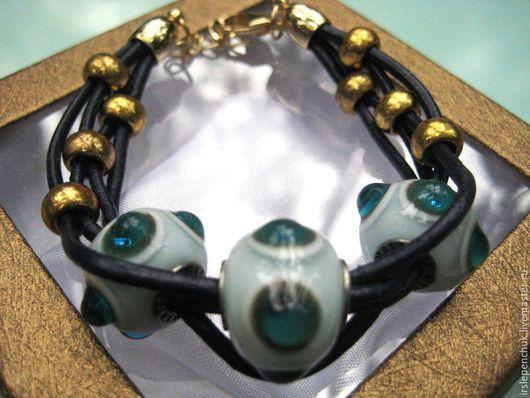 """Браслеты ручной работы. Ярмарка Мастеров - ручная работа. Купить браслет """"Глазки"""". Handmade. Разноцветный, Муранское стекло"""