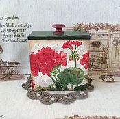 """Для дома и интерьера ручной работы. Ярмарка Мастеров - ручная работа Короб для хранения """"Любимая герань"""". Handmade."""