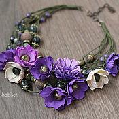 Украшения ручной работы. Ярмарка Мастеров - ручная работа Колье с цветами из фоамирана и бусинами, зеленый фиолетовый пурпурный. Handmade.