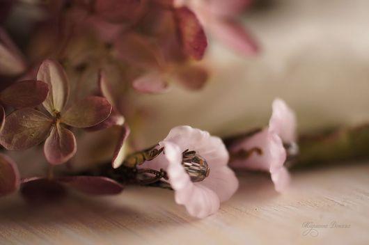 """Серьги ручной работы. Ярмарка Мастеров - ручная работа. Купить Серьги  """"Нежные цветы"""" розовые. Handmade. Бледно-розовый"""